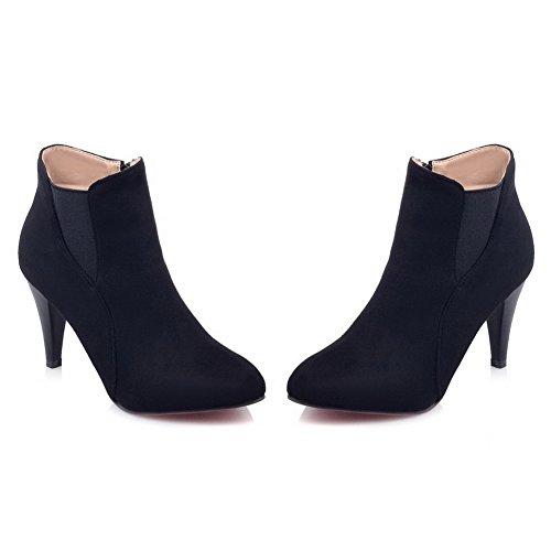 Imitated heels Girls Leather Solid Kitten Adeesu Boots Formal Nero wqBfFXwt