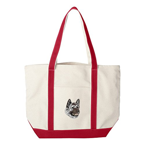 d Embroidered Canvas Tote Bags - Red - Akita ()