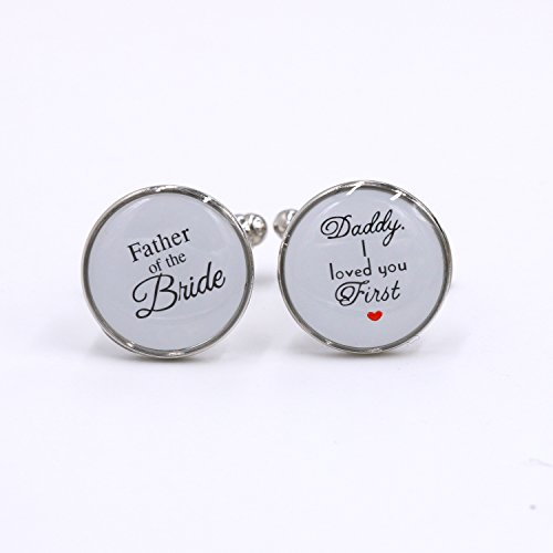 LParkin Wedding Gift Cuff Links -Father of the Bride ; Daddy I love you first (White) by LParkin (Image #2)