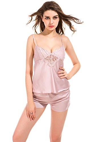 Vislivin Pijama de satén para mujer Set de dos piezas Camisole Top y grifos Shorts Pink