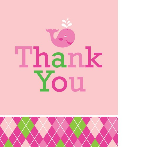 Creative Converting Ocean Preppy Girls Thank You Notes, 8 Count (Preppy Halloween Costumes)