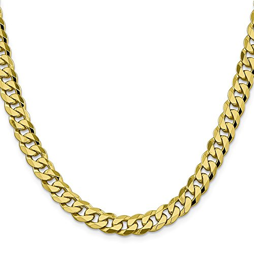 10k 8.75mm Flat Beveled Curb Chain (220 Curb Necklace Chain Beveled)