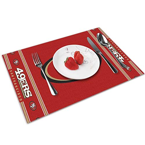 Gdcover San Francisco 49ers Placemats Set of 4 for Dining Non-Slip Heat-resistand Washable Kitchen Table Mats - 12x18 Inches (San Dining Table Francisco)