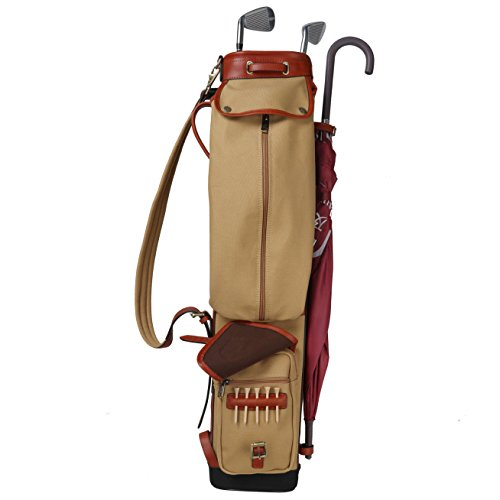 Leather Transit Case - Tourbon Vintage Golf Club Carry Bags Travel Case - Canvas and Leather