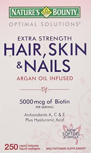 Nature's Bounty Hair Skin and Nails 5000 mcg of Biotin - 250 Coated Softgels Regular & Extra Strength
