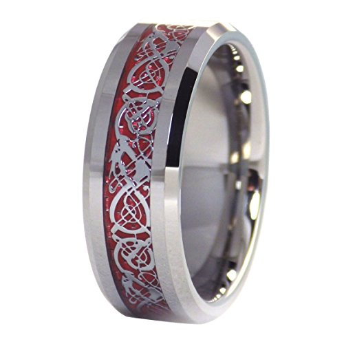 Dragon Solid Ring (Celtic Knot Fire Dragon Ring Red Carbon Fiber Tungsten Carbide Band Size 11)