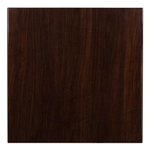 Flash Furniture 36'' Square High-Gloss Walnut Resin Table Top with 2'' Thick Drop-Lip by Flash Furniture