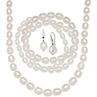 Deals on Finecraft White Ringed Pearl Earring, Bracelets & Necklace Set