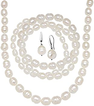 Finecraft Freshwater Pearl Earring, Bracelets & Necklace Set