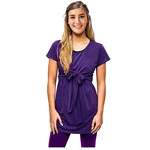 Fashion Women Soft Tie Front Nursing Tops Dress Short Sleeve Breastfeeding and Maternity Tops (Purple, M) (Tie Front Maternity Dress)
