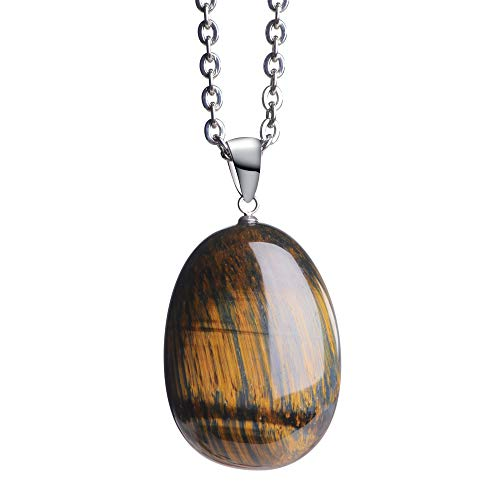 iSTONE Natural Tiger Eye Gemstone Water Drop Lucky Stone Pendant Necklace for Men & Women Steel stainess Chain 20 Inch