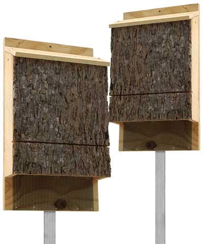 BestNest Triple Chamber Bark Clad Bat Houses with Poles, Pack of 2