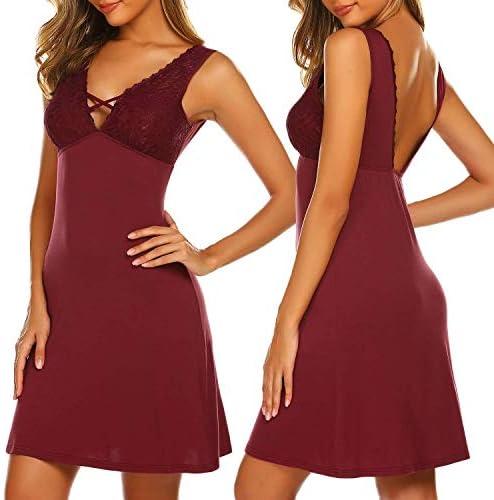 Ekouaer Sexy Nightgown Lace Chemise Nightie Babydoll Sleepwear Nightdress for Women