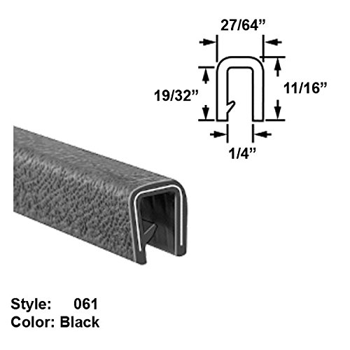 Flame-Retardant Plastic U-Channel Push-On Trim, Style 061 - Ht. 11/16'' x Wd. 27/64'' - Black - 10 ft long by Gordon Glass Co.