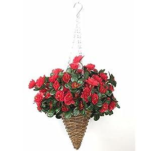 Lopkey Artificial Red Azalea Bush Flower Patio Lawn Garden Mini Hanging Basket with Chain Flowerpot,Red 9