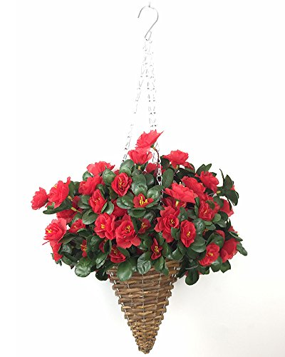 Lopkey Artificial Red Azalea Bush Flower Patio Lawn Garden Mini Hanging Basket with Chain Flowerpot,Red ()