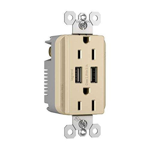C2G Radiant Dual USB Charger with Dual 15A Duplex Outlet and Decorator Wall Plate Ivory Cables To Go 12825