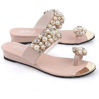 FSCHOOLY Scarpe Donna Pu Primavera Estate Comfort Sandali Tacco Piatto Di Abbigliamento Casual Bianco Rosa Viola,Rosa,Us6/Eu36…