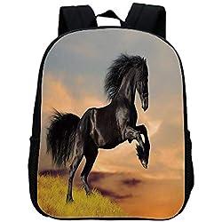 Horse Decor Fashion Kindergarten Shoulder Bag,Western Wildlife Theme Friesian Horse Galloping Idyllic Sunset Scenery Pasture Decorative For Hiking,One_Size