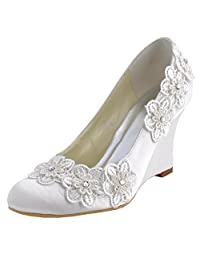 Minishion GYMZ692 Womens Wedge Flowers Satin Evening Party Prom Bridal Wedding Shoes Pumps Sandals Flatfs