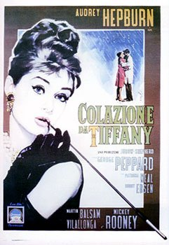 HUGE LAMINATED / ENCAPSULATED Breakfast at Tiffanys - Vintage Italian Film POSTER measures approximately 100x70 cm Greatest Films Collection Directed by Blake Edwards. Starring Audrey Hepburn, George Peppard, Patricia Neal.