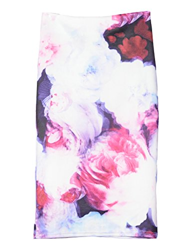 pour White l't Floral Slim Relaxfeel Peony Jupes Vintage Pencil wXX1UH