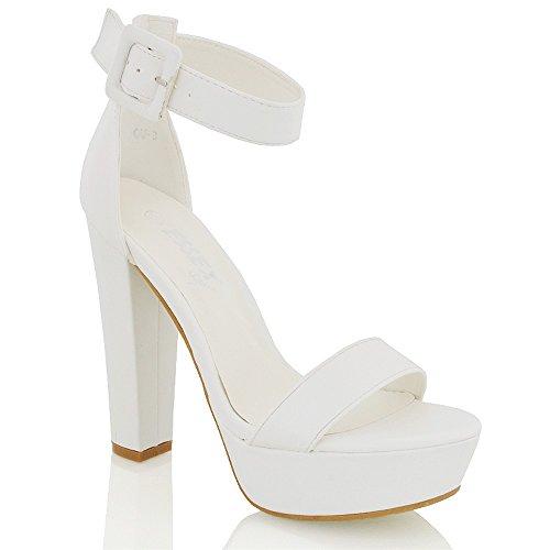 Cinturino Scarpa Caviglia Essex Sintetico Bianco Tacco Sintetica Festa Blocco Piattaforma Pelle Glam A Donna Sandola fx4PUqt