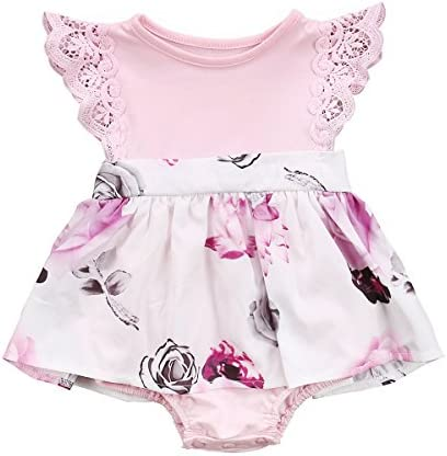 Big Little Sister Floral Matching Clothing Lace Ruffle Sleeve Romper Dress Outfit Clothes
