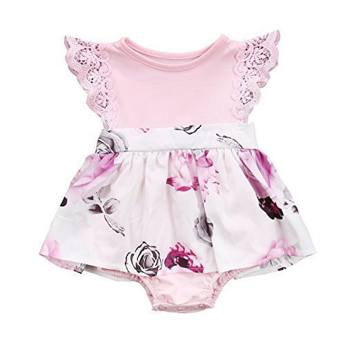 Big Sister Little Sister Floral Matching Clothing Lace Ruffle Sleeve Romper&Dress Outfit Family Clothing (0-6 Months, Romper (Little Sister)) -