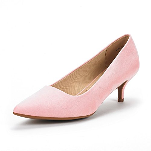Heel Dorsay Pump - DREAM PAIRS Women's Moda Pink Suede Low Heel D'Orsay Pointed Toe Pump Shoes Size 8.5 M US