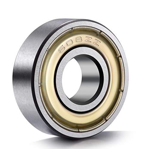 (20-Pack 608 ZZ Ball Bearings , 608zz Metal Double Shielded Miniature Deep Groove Skateboard Ball Bearings (8mm x 22mm x 7mm))