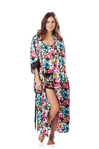 Ashford & Brooks Women's 3 Piece Satin Long Robe and Pajama Set - Floral - Large