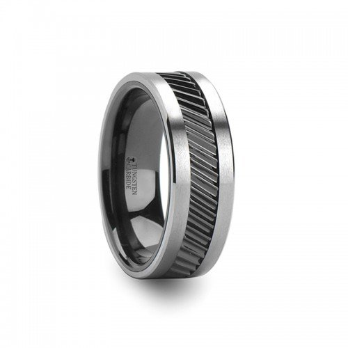 HELIX Gear Teeth Pattern Black Ceramic and Tungsten Carbide Ring - 8mm