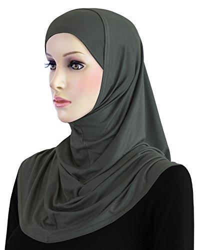 Cotton Hijab 2 piece Amira Set Easy Instant Pull-On Hood & Tube Cap (Charcoal Gray) by Khatib Fashions