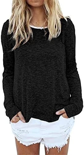 DANEDVI WOMEN'S CREWNECK LONG SLEEVE T SHIRTS SOLID COLOR CASUAL LOOSE WOMEN STRIPED TUNIC TOP PULLOVERS