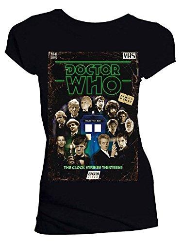 Price comparison product image Titan Merchandise Doctor Who: Retro VHS Cover All Doctors Colour Graded Junior's Black T-Shirt (Large)