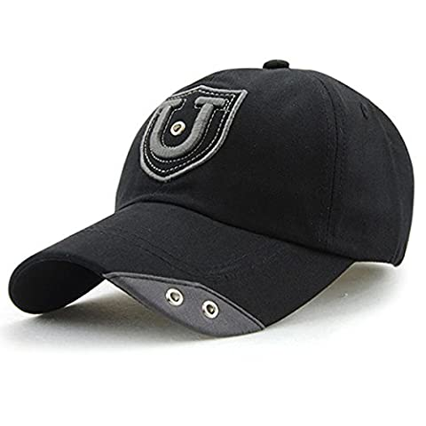 Letter Cotton Baseball Cap - iParaAiluRy Outdoor Fashionable Unisex Adjustable Rivets Leisure Embroidery Hat for Male and Female
