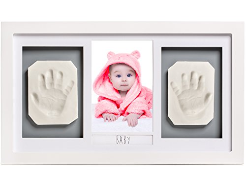 Lovely Baby Handprint or Footprint Picture Frame Kit -The Perfect Shower Gift for Boys and Girls, and A Forever Registry Memory, All in A Premium LARGE Wood Frame for Keepsake Decoration, Wall or Desk Day Art Print