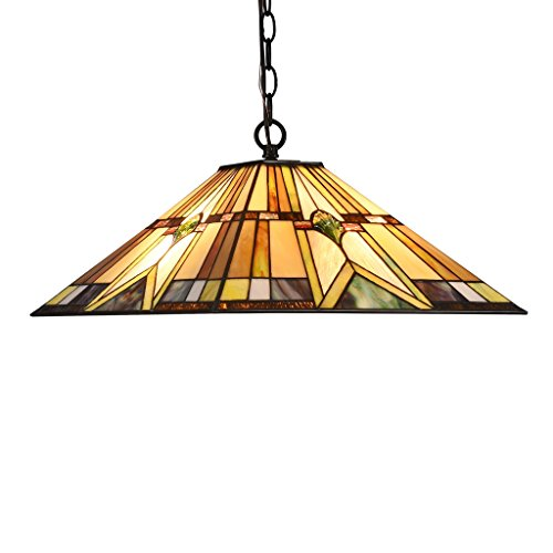 DOCHEER Tiffany-Style Stained Glass 2-Light Hanging Lamp Ceiling Pendant Light Fixture with 16.1-Inch Wide Shade Lighting Copper Stained Glass Chandelier