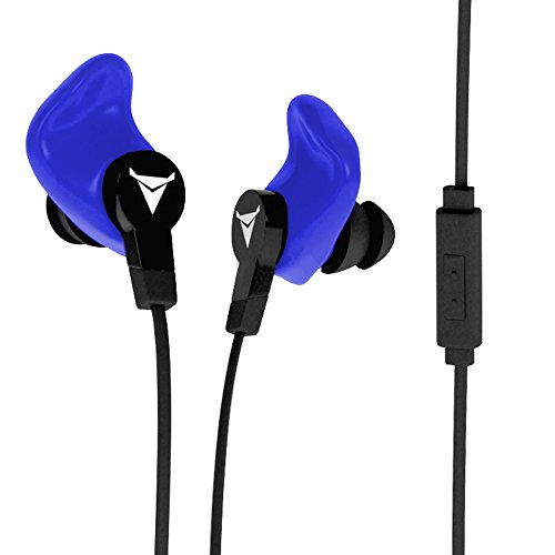 Decibullz - Contour Custom Fit Earphones, Easily Fitted to The Exact Shape of Your Ear, These Sportbuds Never Fall Out (Blue)