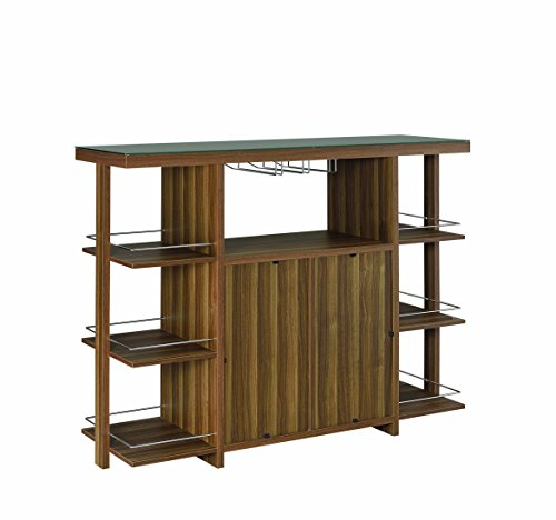 Coaster 100439-CO Cristian Modern Walnut Wood Bar Unit with Glass Top (Walnut Coasters)