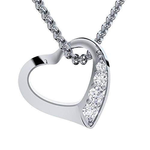 *KURZE LIEFERZEIT!* Herzkette Silber 925 Premium Etui + Ich Liebe Dich Gravur Damenkette Herz Silberkette Kette Damen Geschenk für Sie Schmuck Halsketten für Frauen Freundin Herz-Anhänger Herzen