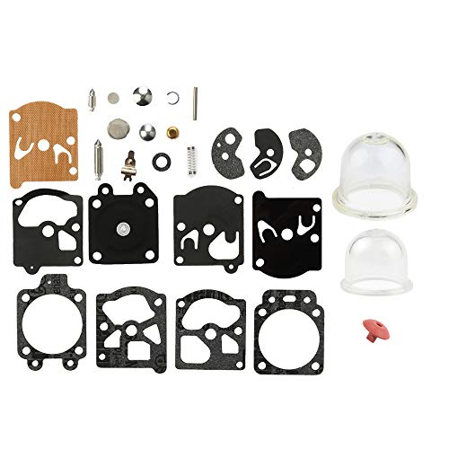 Dalom K10-WAT Carburetor Rebuild Kit w Primer Bulb for Walbro WA WT Carb STIHL Husqvarna Poulan Craftsman Chainsaw Edger Trimmer Repair Kit