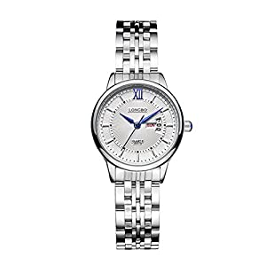His and Her Watch Quartz Stainless Steel Band Ultra Slim Big Face Watches for Couple Lovers Week and Date