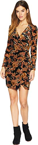 - 41hRXOnEzLL - ASTR the label Women's Lanita Long Sleeve Short Wrap Velvet Dress