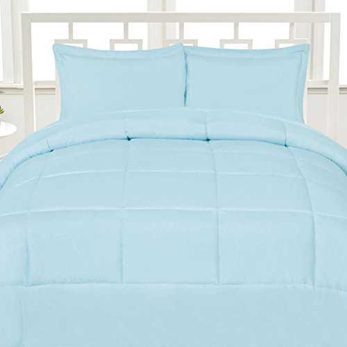 Aurora Bedding Luxurious Down Alternative Soft Solid Color Comforter Box Stitch Brushed Microfiber Bedding - Full, Light Blue,