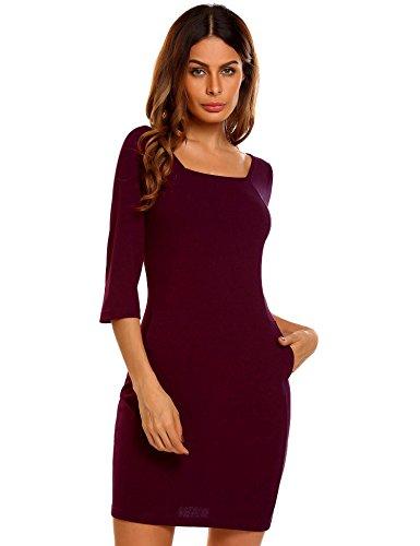 a0ac9fe83bb0 Meaneor Damen Elegantes Etuikleid Bleistiftkleid Business Kleid Mit  Viereck-Ausschnitt Knielang 3 4 Arm