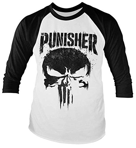 Marvel Punisher Baseball T Shirt Distressed Logo Official Mens White Long Sleeve Size S