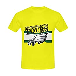 dad44ee2 Burrows Custom NFL Eagles Team Men's Cotton Slim Fit T-shirt Yellow Apparel
