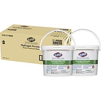 Clorox Healthcare peróxido de hidrógeno limpiador desinfectante toallitas, 185 con cubo (Pack de 2